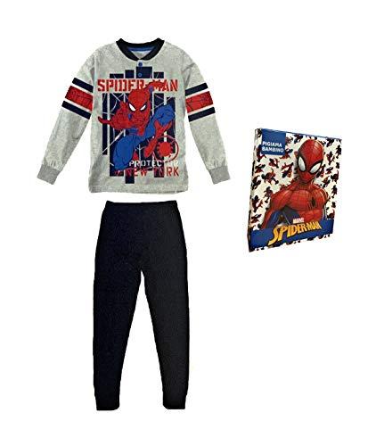 Sabor Pigiama Bambino Estivo Spiderman, Pigiama Bambino in Cotone, Pigiama Bambino Lungo Disney Marvel (4523 Grigio, 4 Anni)