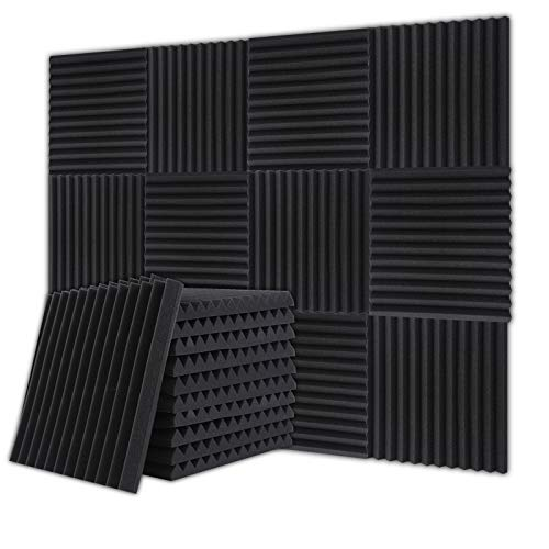 BUBOS Sound-Absorbing Material, Silent, Soundproofing, Soundproofing, Home Decor, Musical Instrument, Urethane Foam Wedge, Sound Absorbing Material: Polyurethane, Black (12 Pieces, 11.8 x 11.8 x 1.0 inches (300 x 300 x 25 mm)