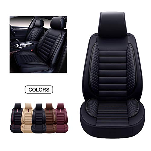 OASIS AUTO Leather Car Seat Covers, Faux Leatherette Automotive Vehicle Cushion Cover for Cars SUV Pick-up Truck Universal Fit Set for Auto Interior Accessories (OS-001 Front Pair, Black)