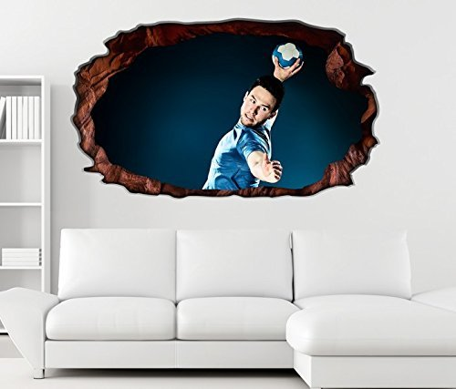 3D Wandtattoo Handball Sprungwurf Wurf Spieler selbstklebend Wandbild Tattoo Wohnzimmer Wand Aufkleber 11M201, Wandbild Größe F:ca. 140cmx82cm