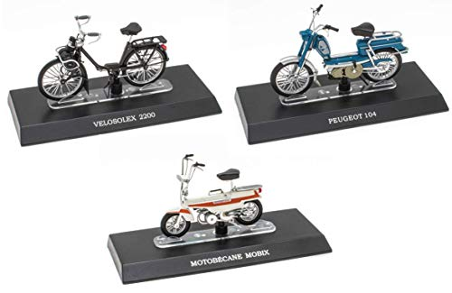 OPO 10 - Lote de 3 ciclomotores legendarios 1/18: Peugeot 104 + Solex + Motobécane Mobix (M11 + M17 + M20)