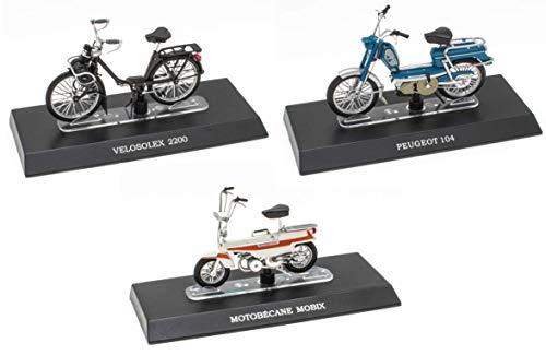 OPO 10 - Lotto di 3 leggendari ciclomotori 1/18: Peugeot 104 + Solex + Motobécane Mobix (M11 + M17 + M20)