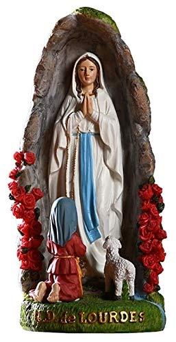 Desktop-Skulptur Jungfrau Maria Statue Lourdes Grotte Charakter Skulptur Handwerk Harz Sammlerstück Religiöse Geschenke Innengarten Dekoration Zubehör Figuren