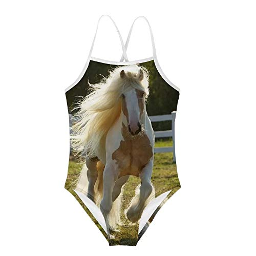 Amzbeauty Einteiliger Badeanzug für Mädchen mit UV-Schutz, tolles Geschenk für Mädchen und Kleinkinder im Alter von 2-8 Jahren Gr. 7-8 Jahre, Pferd 03