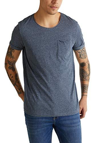 edc by ESPRIT Herren 010CC2K306 T-Shirt, Blau (Navy 404), M