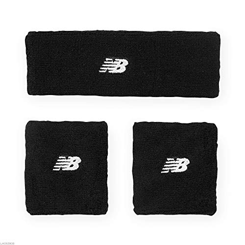 New Balance Sweatbands 3 Pack - Sweatband Set [Headband + Wrist Sweatbands] Moisture Wicking Sports Athletic Sweatbands for Running, Tennis, Basketball, Cycling, Women, Men, Kids, Boys, Girls, Black
