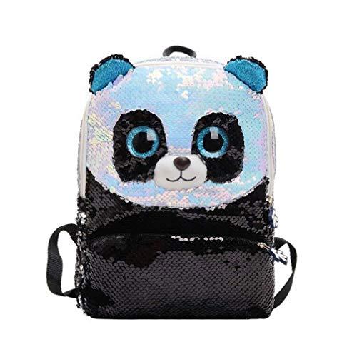 Elegante Mochila de Panda de Lentejuelas Bolso de Escuela Bolsa de Viaje para niños niñas (Negro)
