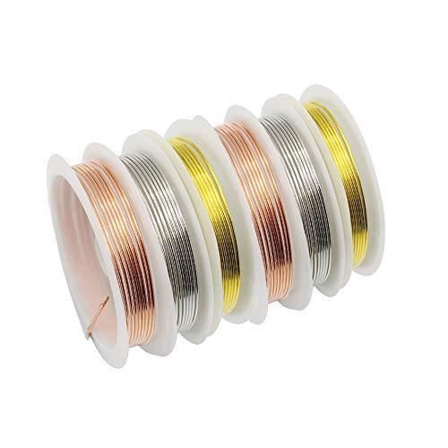 YapitHome 6 Rollos 1,0 mm Aalambre para Bisuteria Alambre de Joyería Alambre de Cobre Metal de Alambre para la Fabricación de Joyas Artesanales (Oro, Plata, Oro Rosa)