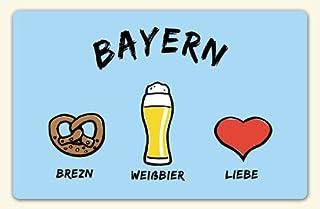 Kühlschrankmagnet Bayern: Brezn - Weißbier - Liebe - als Geschenk für echte Bayern oder als Bayern Souvenir - die stadtmeister