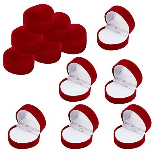 SUPERFINDINGS 12pcs 47.5x43.5x34mm Roter Samt Geschenkboxen Herzförmige Vorschlag Ring Boxen Verlobungsring Boxen Schmuckschatullen Für Vorschlag Verlobung Valentinstag Hochzeit