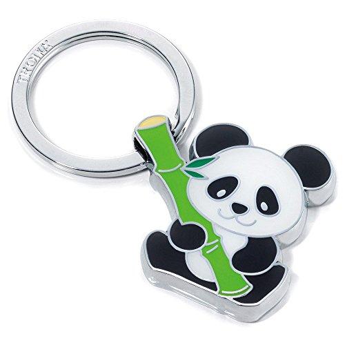 TROIKA BAMBOO PANDA SCHLÜSSELANHÄNGER - KR10-03/CH - Schlüsselanhänger Panda mit Bambus - Metallguss - glänzend - verchromt - das Original von TROIKA