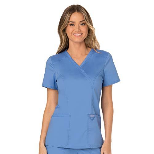 Workwear Revolution Women Scrubs Top Mock Wrap WW610, L, Ciel Blue