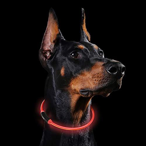 LED Collari Cani GeeRic Collare Luminoso per Cane Sicura Collare di Cane LED Ricaricabile Regolabile Impermeabile USB Collare Luminoso con 3 Luminosa Modalità per Animali Domestici Size 60cm/Max Rosso