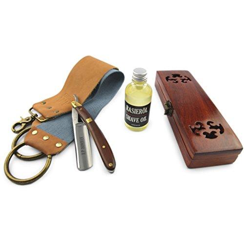 """A.P. Donovan - Professionelles 7/8\"""" Rasiermesser - Griff aus Mahagoni-Holz - mit Rasieröl und Streichriemen mit Paste zum schärfen - im Set"""