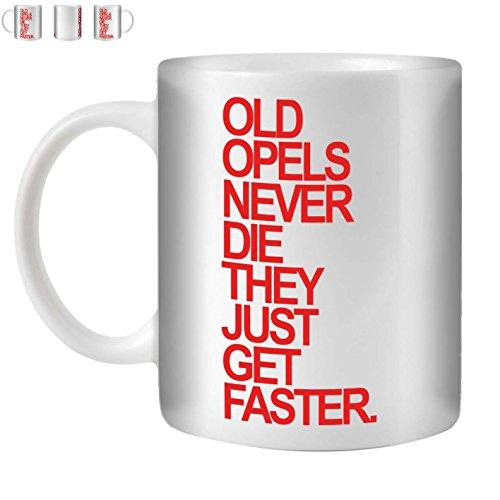 Stuff4 Tee/Kaffee Becher 350ml/Opel/Red Text/Alte Autos/Weißkeramik/ST10