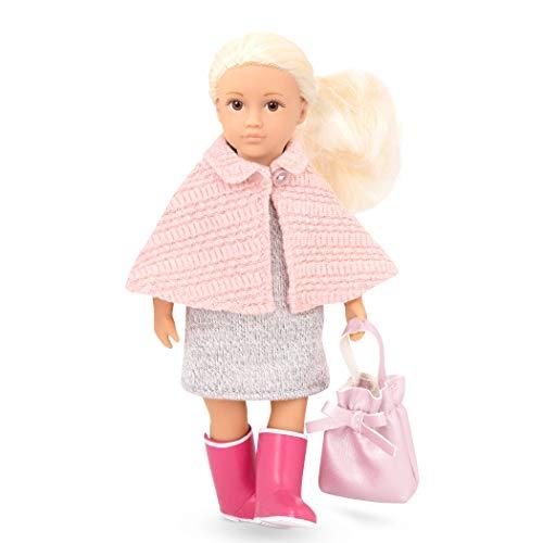 LORI 45714 Puppe Elizabeth, 15cm, Lange Blonde Haare, Blaue Augen, ab 3 Jahren, Stehpuppe, beweglich, weicher Körper, Cape, Stiefel pink, Wollkleid