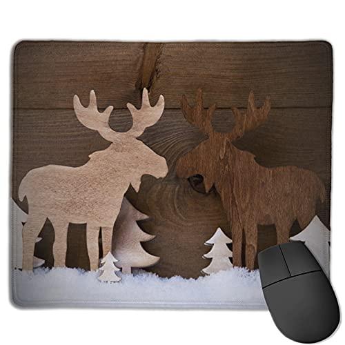 Benutzerdefinierte Office-Mauspad,Mode Weihnachten Holz Elch Elch Paar, Anti-Rutsch-Gummibasis Gaming Mouse Pad Mat Desk Decor 9.5