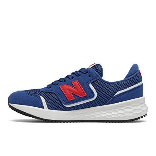 New Balance Fresh Foam X70 V1 Lace-Up Sneaker, Atlantic/Team Red, 11.5 Wide US Unisex Little_Kid