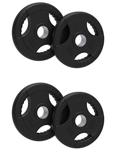 OLYMPIC Weight Plates Rubber Coated Cast Iron Tri Grip 5kg 10kg 15kg 20kg SOLD AS PAIRS (5, Quad)