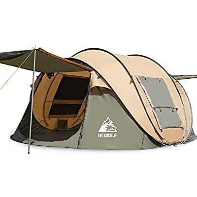 3-4 Person Instant Camping Tent-Pop-Up Hewolf Family Tent Easy Set Up-Great for Camping, Backpacking, Hiking & Outdoor Music Festivals (4 Person Coffee)