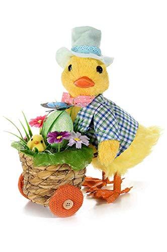 Deko Figur Osterkücken mit Hemd und Hut schiebt Osterkorb Osterfigur Osterdeko schöne Osterkückenfigur zu Ostern 27 cm groß