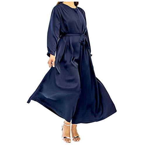 L9WEI - Mono musulmán para mujer, elegante, con cinturón fino, mono, mono de manga larga, mono suelto, de satén