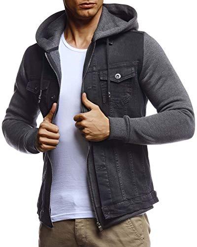Leif Nelson Herren Jeansjacke schwarz Freizeitjacke Denim Vintage Jeans Jacke für Männer mit Kapuze Slim Fit Hoodie Kapuzenjacke verwaschen Casual Anthrazit Large
