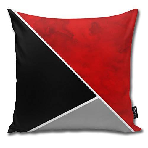 Rasyko - Federa decorativa per cuscino, motivo a blocchi di colore rosso, grigio, nero, ideale come regalo per casa, divano, letto, auto, 45,7 x 45,7 cm