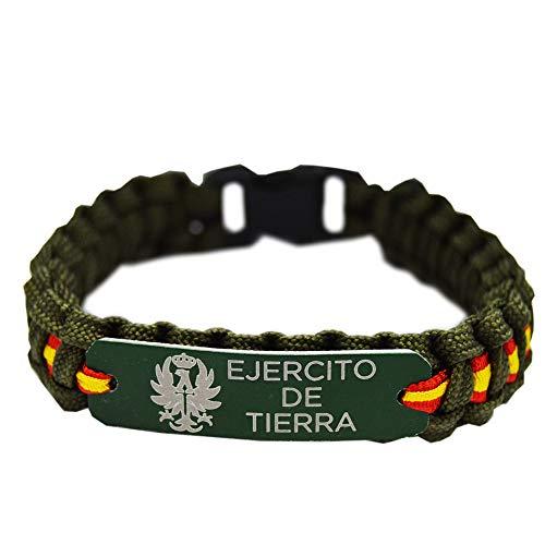 Pulsera Paracord Ejercito de Tierra España. Color Verde con Chapa de Aluminio. Med. 21.5 x 1.5 Aprox.