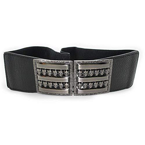 Trimming Shop Mujer Elástica Cinturón Negro con Hebilla Calavera - Elást...