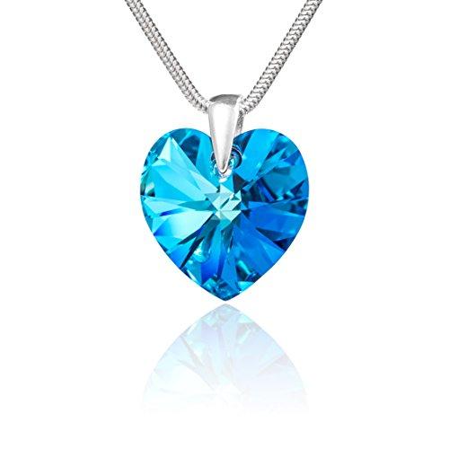 LillyMarie Damen Halskette Sterling-Silber 925 Swarovski Elements Herz Blau Längen-verstellbar Geschenkverpackung Kleine Geschenke