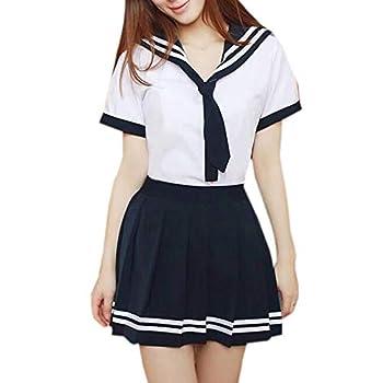 WSLCN Womens Sailor Suit Anime School Girl Uniform Dress Japanese Skirt Cosplay Costume Short Sleeve Shirt Mini Pleated Skirt Navy blue M  Asian XL