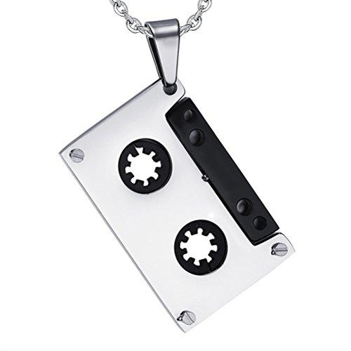 BESTOYARD Collar Colgante de Cinta de Cassette de música de Acero Titanio Collar Hip Hop para Hombres y Mujeres