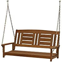 Furinno Tioman 2-Seater Hardwood Hanging Porch Swing with Chain