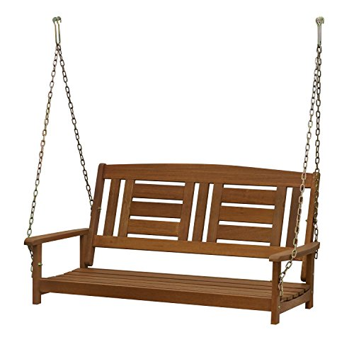 Furinno FG16409SC Tioman Hardwood Hanging Porch Swing, 2-Seater Without Frame, Natural