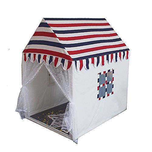 QHWJ Spielzelt, Kinderspielhaus gestreiften Zelt Baumwolle Massivholz kleines Haus Innenzelt Babyspielhaus Spielhaus Indoor-und Outdoor-Spiele,L