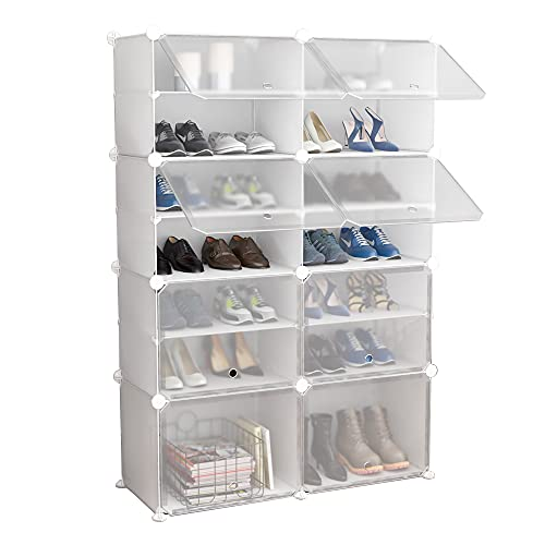 tall shoe storages JOISCOPE Portable Shoe Storage Organzier Tower, Modular Cabinet for Space Saving, Ideal Shoe Rack for Shoes, Boots, Slippers (White,2x7-tier)