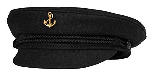 AS Bekleidungswerk modAS Original Elbsegler mit vergoldeter Anstecknadel - schwarz, Größe:53, Ausführung:Anker