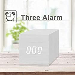 Digital Alarm Clock, with Wooden Electronic LED Time Display, 3 Alarm, 2.5-inch Cubic Small Mini Wood Made Electric Clocks for Bedroom, Bedside, Desk, White
