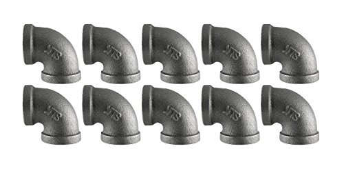 """Black Cast Pipe Fitting, Elbow 90, 1/2"""", 10-Pack"""