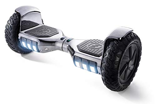 "RIDE SWFT Sonic Hoverboard Self Balancing Scooter,10"" Off Road Pneumatic Tires, Top Speed of 9 mph, 8 Mile Distance,LED Lights, Bluetooth Speakers, 27 Point Safety Inspection, Monochromatic Gunmetal"