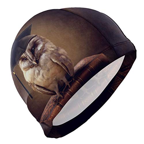 Gebrb Badekappe/Schwimmkappe/Bademütze, Swim Cap Art Painting Animal Owl Swimming Hat Cover Ears No-Slip Bathing Cap for Men