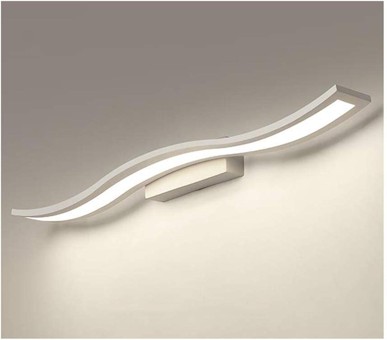 BAIF Badezimmerspiegelleuchten Spiegelfrontleuchte Moderne Kreative Wellige Eisen Acryl LED Badezimmer Wandleuchte-60   80cm (Farbe  Weilicht-80 cm)