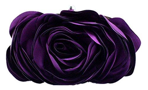 Bywen Womens Rose Pattern Purse Party Clutch Shoulder Bags Purple