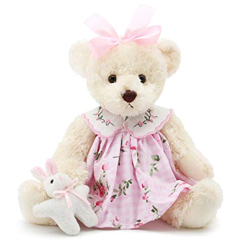 Oitscute Small Baby Teddy Bear with Cloth Cute Stuffed Animal Soft Plush Toy 10' (Pink Dress with Rabbit)