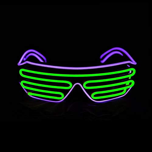 KingCorey Glow Shutter Neon Rave Glasses El Wire Flashing Gafas de Sol LED Light Up Disfraces de DJ para Fiesta, 80, EDM (Púrpura+Verde Claro)