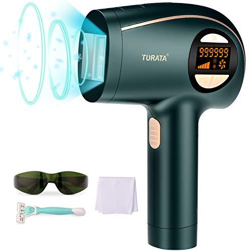 TURATA IPL Haarentfernungsgerät mit 999,999 Lichtimpulse Kühlpflegefunktion Dauerhafte Haarentfernung IPL Gerät für Körper Gesicht Bikini-Zone Achseln & Damen Männer