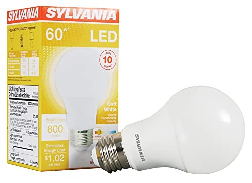 SYLVANIA LED Light Bulb, 60W Equivalent A19, Efficient 8.5W, Medium Base, Frosted Finish, 800 Lumens, Soft White - 6 Pack (73885)