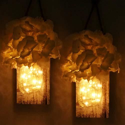 2 Stück Rustikale Wandlampe, Yofuly Vintage rustikale Holz-Dekoration, Schmiedeeiserne Haken, Seide Hortensien und...