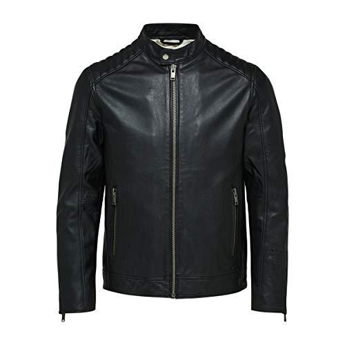 SELECTED HOMME SLHICONIC Racer Leather JKT W Noos Chaqueta de cuero, Negro, XL para Hombre